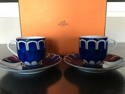 Hermes Bleus D'Ailleurs Coffee Cup and Saucer Set of 2  # 030017P00