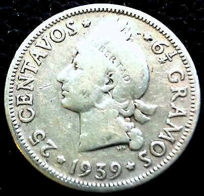1939 Dominican Republic, Silver Coin, 25 Centavos , Low Mint Rare, All Legends,