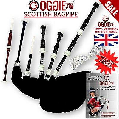 New Highland Bagpipe Rosewood black Half Silver Mounts Scottish Bagpipes & book0