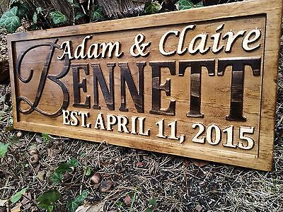Handmade Personalized Wood Last Name Sign For Rustic Wedding Or