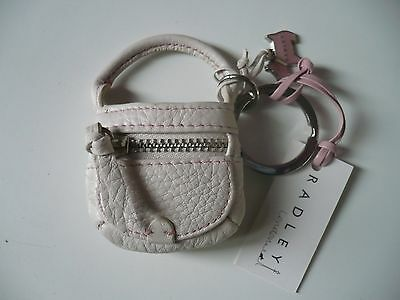 New Radley Pink Leather Purse Keyring Bag Charm (With Dog) Tag Bnwt