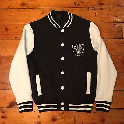 Oakland Raiders NFL American Football Black White Letterman Jacket Size Small S