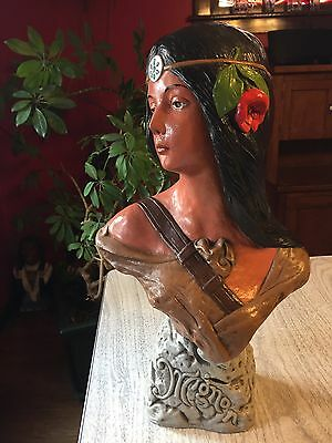 Vintage Native American Indian Cigar Store Sculpture Woman Art Nouveau 1900s