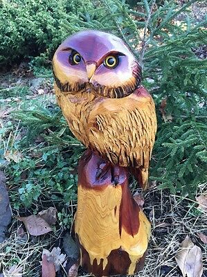 Chainsaw Carved Owl Red Cedar Wood Carving Cabin Rustic Great Christmas Gift!