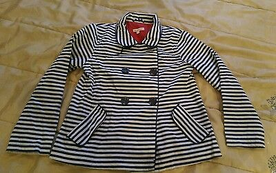 Lovely condition Bluezoo navy/white striped coat 10years