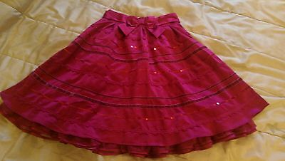 Lovely condition stunning red satin and sequin quality skirt with bow 12 years