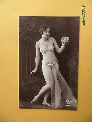 Orig French 1910's-1920's Nude Erotic Postcard Pretty Lady Beauty Princess #91