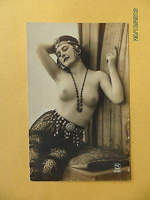 Original French 1910's - 1920's Nude Risque Postcard Sexy Lady Princess #89