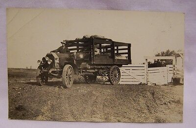 1910's Avery Truck & Farmer w/ Load of Hogs RPPC Chain Drive Truck