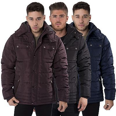 Kangol Mens Casual Quilted Coat Hooded Zip Through Winter Jacket Sizes S-XXL