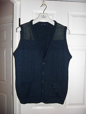 Mens Navy B.h.s Chunky Knitted  Waistcoat Fit Chest 35''- 37''