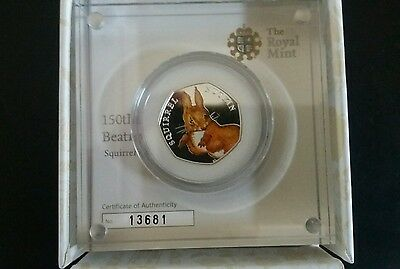 Beatrix Potter Squirrel Nutkin Silver Proof 50p COLOURED Coin Royal Mint