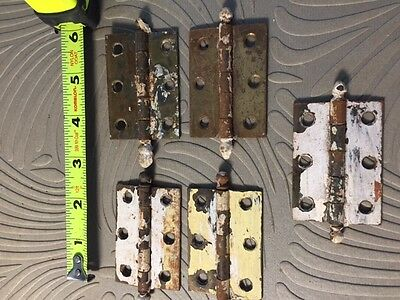 ANTIQUE CANNONBALL TOP DOOR HINGES (5) 2 3/8 x 1 5/8