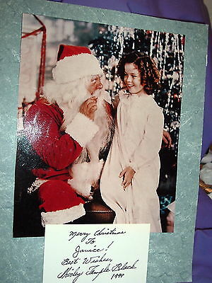 SHIRLEY TEMPLE signed card and color photo with Santa 1994
