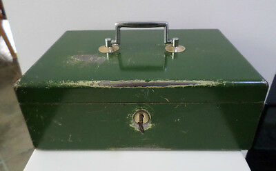 Modernist Authentic  Mid Century Factory Industrial Metal Box, With Key