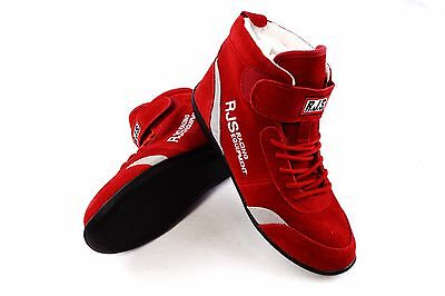 Rjs Racing Equipment Sfi 3.3/5 Racing Shoes Red Gray Stripe Mid Top Size Youth 2
