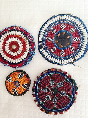 Vintage Beadwork. American Indian?  Four Pieces From Estate. 4''to 2 1/2''