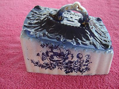 Antique   English VICTORIAN  Cobalt Blue Cheese Dome