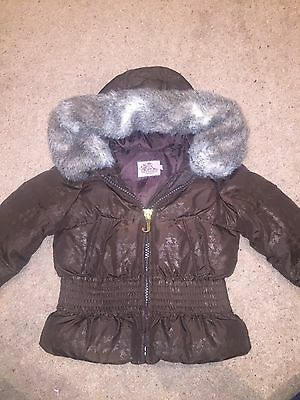 Juicy Couture Girls Coat Size 2 Yrs In Brown With Fur Trim On Hood