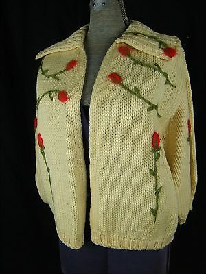Vtg 60s Ivory Wool Knit Red Floral Embroidery Cardigan-Bust 40/S-M