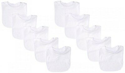 Neat Solutions 10 Pack Solid Knit Terry Feeder Bib Set, White, New