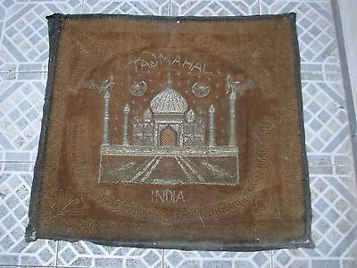 Antique Indian Rug Carpet TAJ MAHAL silver embroidery, fine piece of collection