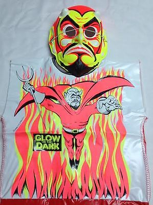 Vintage Devil Glow in the Dark Halloween Costume with Mask NEW 1986 5-6