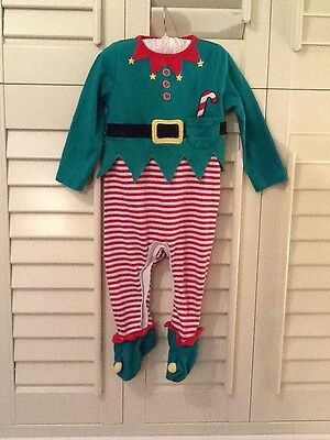 Christmas Elf Babygrow and Hat Set, Size 6-9 Months