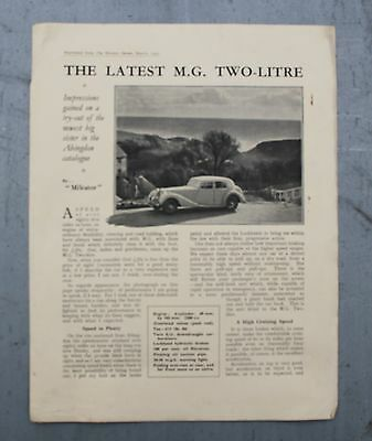 Original  Mg 2 Litre  Test Reprint From The Morris Owner March 1937