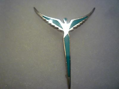 "Steven Lavaggi 2"" Sterling Turquoise Inlay Angel of Reconciliation Pin Pendant"