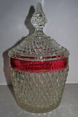Vintage Ruby Band Ice Bucket & Lid Indiana Glass Co. USA Very Collectable