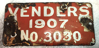1907 Philadelphia Pennsylvania Porcelain Venders License Plate