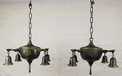 Antique Matched Pair Victorian Brass Pan Light Chandeliers Parts or Restoration