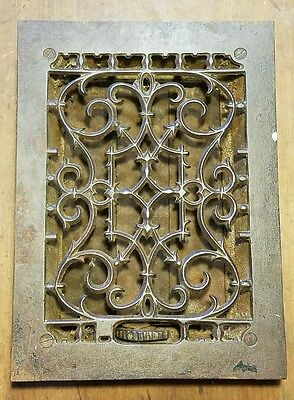 "Ornate Cast Iron  Heating Grate Register Vent  w/Louvers Fits 7 1/4"" x 10"" Hole"