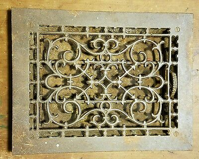 "Ornate Cast Iron  Heating Grate Register Vent  w/Louvers Fits 9"" x 12"" Hole A"