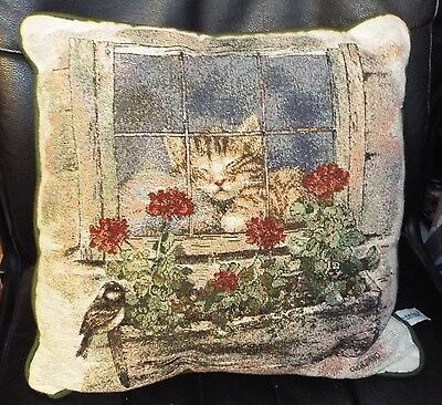 "Riverdale Tapestry CAT IN WINDOW Throw Pillow Giordano EUC! 16"" x 16"""