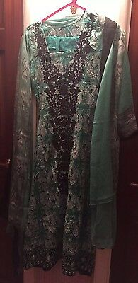 Layla Designer 3 Piece Shirt, Dupptta, Pants Size:S Front Black Full Embroidery