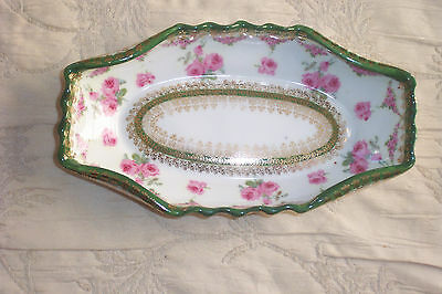 Antique Imperial  Crown Austria Dish Roses Gold 1890-1910