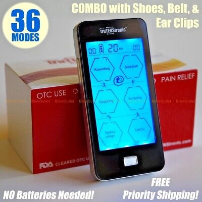 36 mode TENS Unit EMS NMES Digital Electric Pulse Therapy Muscle Full Body COMBO