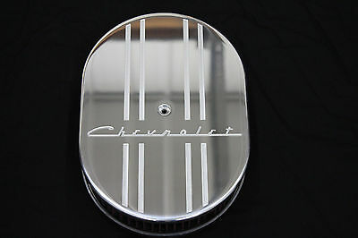 New Style Chevrolet 12 Inch Oval Air Cleaner Billet Aluminum 2 inch K&N Filter
