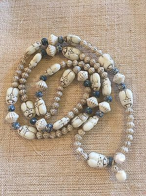 Antique Carved Scarab White Glass? Bead Necklace Vtg Chinese China Blue Beaded