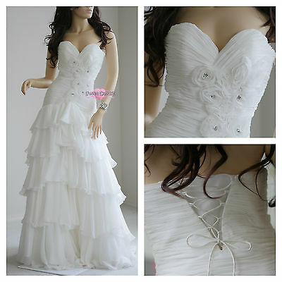 White Sweetheart Bustline Wedding Dress with Pleats, Roses and Ruffles (Size2)