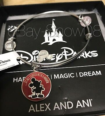 ALEX AND ANI Disney Park Mickey Mouse It All Started With A Mouse One Silver NWT