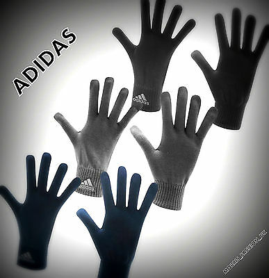 Mens Genuine Adidas Winter Knit Acrylic Gloves Black Grey Navy  Sun Accessories
