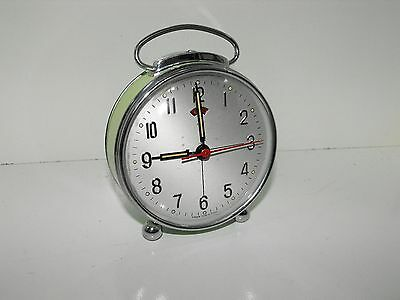 """Vintage Round Face Lime Green Metal Windup Alarm Clock In Great Condition """"GWO"""""""