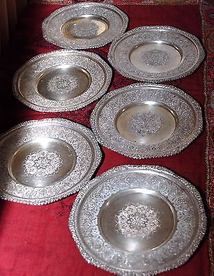 Antique Old HAND MADE ISLAMIC PERSIAN SILVER PLATES Set of 6 Lot Iran RARE