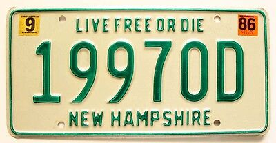 """New Hampshire September 1986 """"Live Free or Die"""" License Plate, Very Good Natural"""