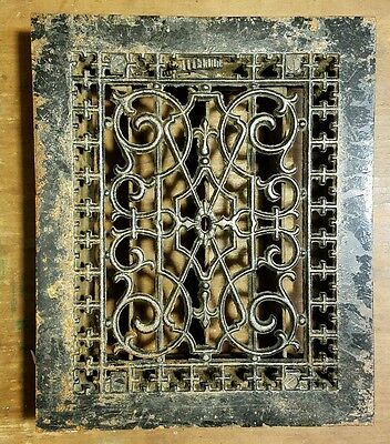 "Ornate Cast Iron  Heating Grate Register Vent  w/Louvers Fits 8 x 10"" Hole A"