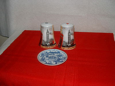 London England Salt And Pepper Shakers And London England Souvenir Plate