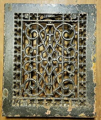 "Ornate Cast Iron  Heating Grate Register Vent  w/Louvers Fits 8 x 10"" Hole B"